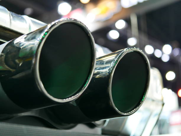 Dual exhaust pipes stock photo