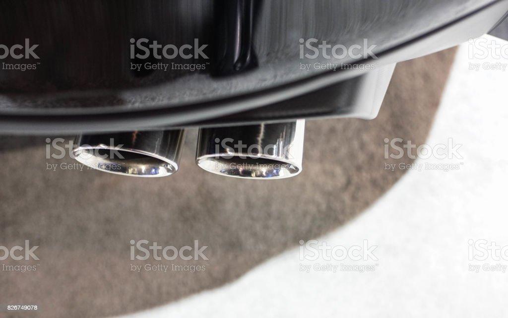 dual exhaust tips stock photo