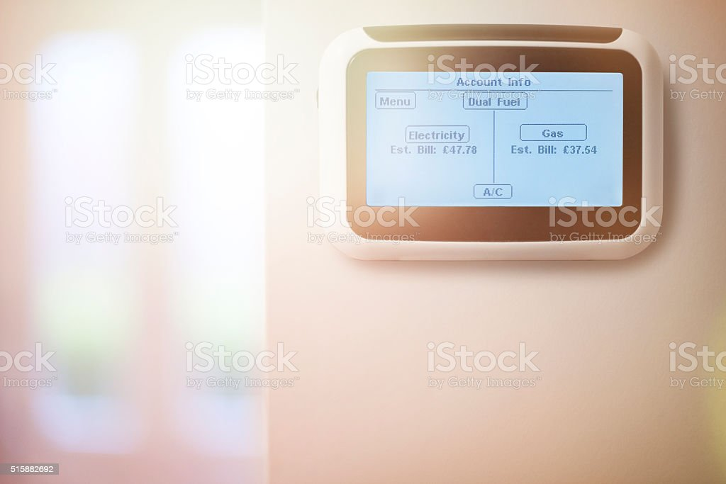Dual Fuel Home energy smart meter stock photo
