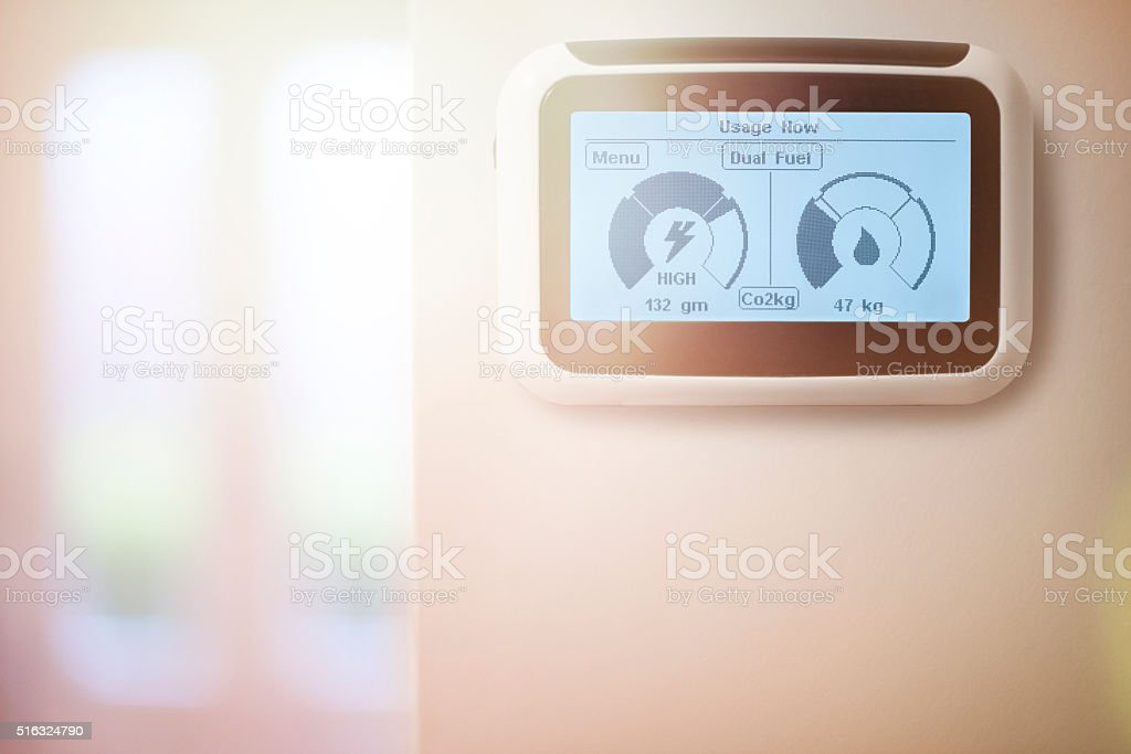 Dual Fuel Home energy smart meter stock photo