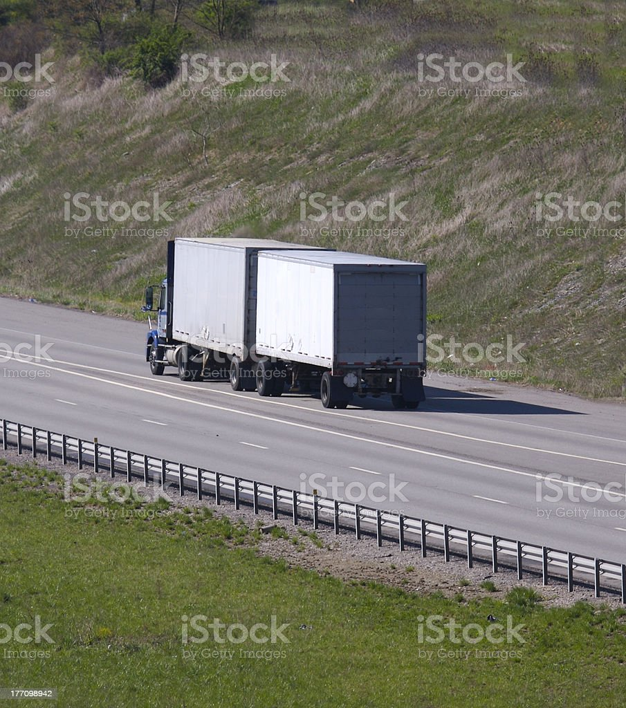 Dual Trailer Semi stock photo