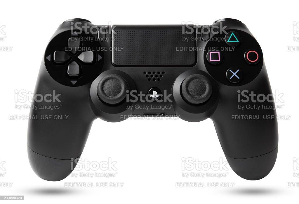DualShock 4 controlador inalámbrico con PlayStation 4 - foto de stock