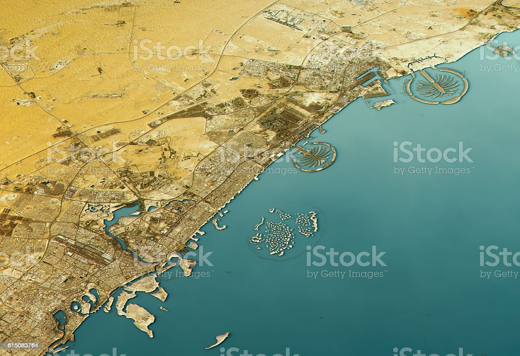Dubai 3D Landscape View North-South Natural Color stock photo