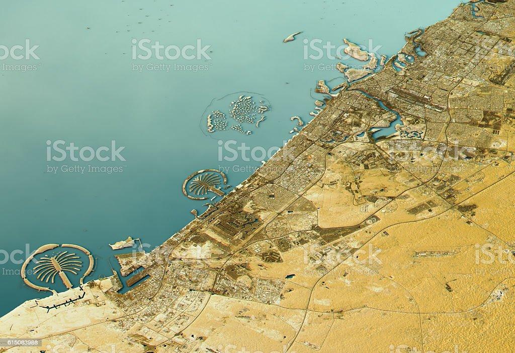 Dubai 3D Landscape View South-North Natural Color stock photo