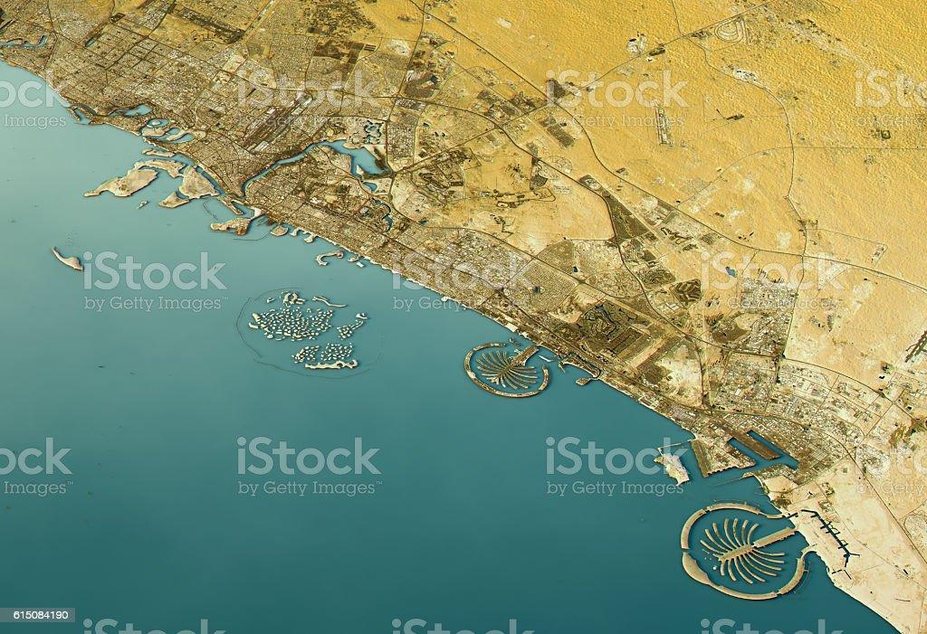 Dubai 3D Landscape View West-East Natural Color stock photo