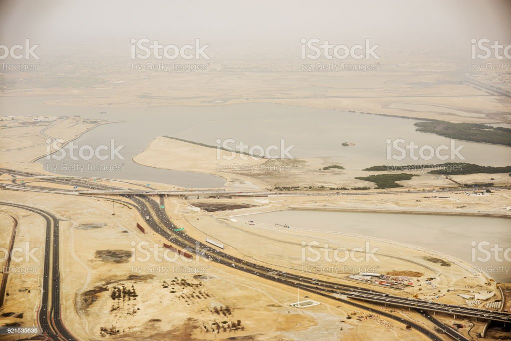 Dubai aerial view of  highways and traffic and exotic style. stock photo