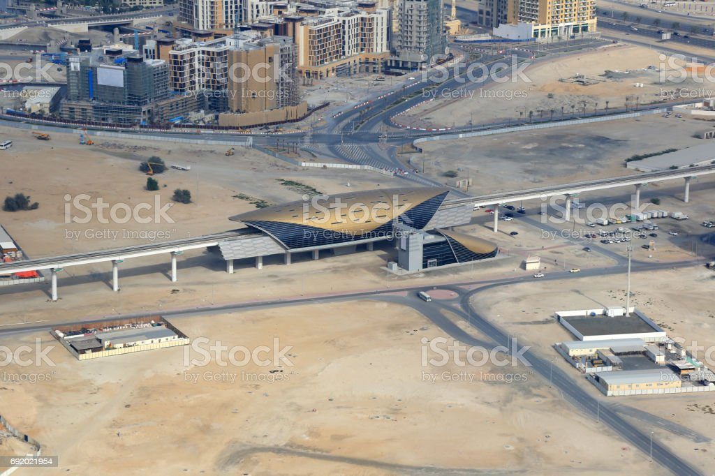 Dubai Al Jadaf Metro station aerial view photography stock photo