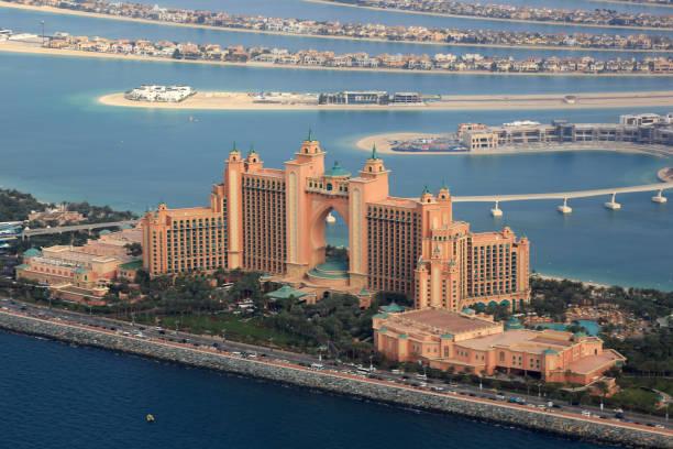 Dubai Atlantis Hotel The Palm Island aerial view photography stock photo