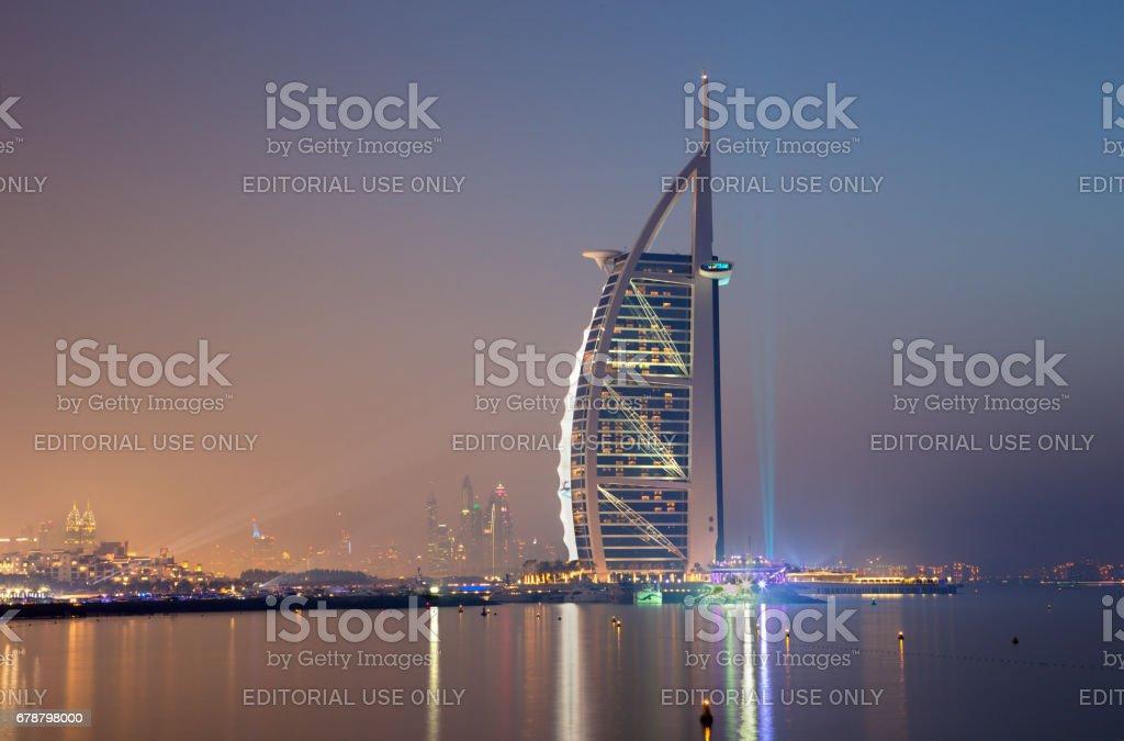 Dubai - Burj al Arab and Marina towers in background. royalty-free stock photo