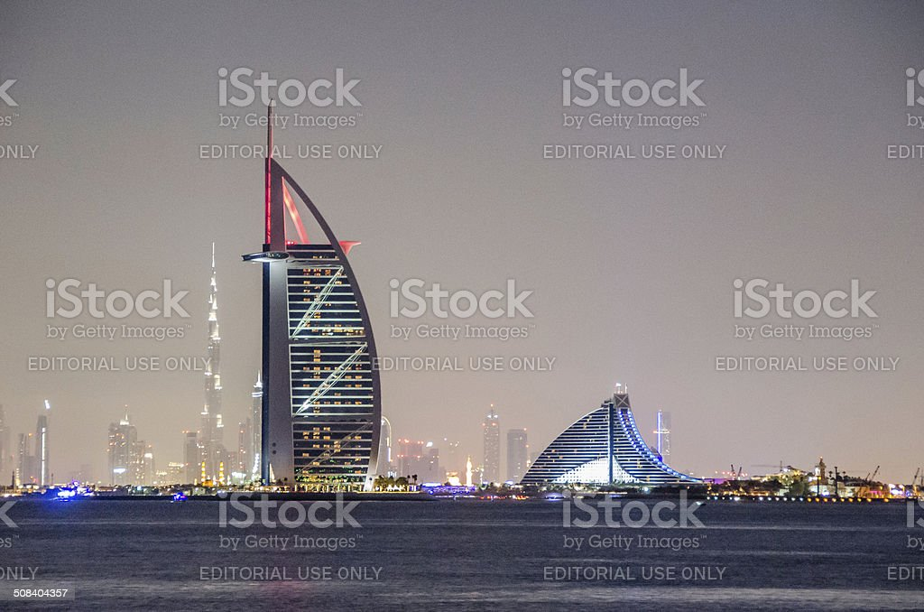 Dubai Burj Al Arab, Burj Khalifa, Jumeraih Beach Hotel stock photo