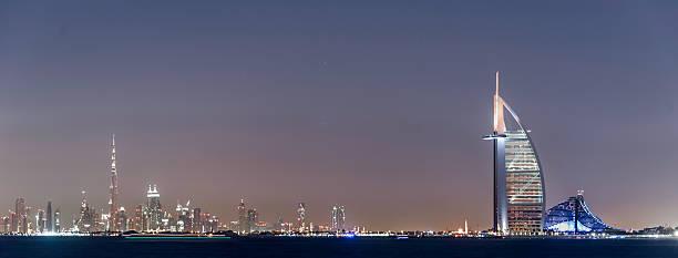 dubai burj al arab, burj khalifa, jumeraih beach hotel - jumeirah stock-fotos und bilder