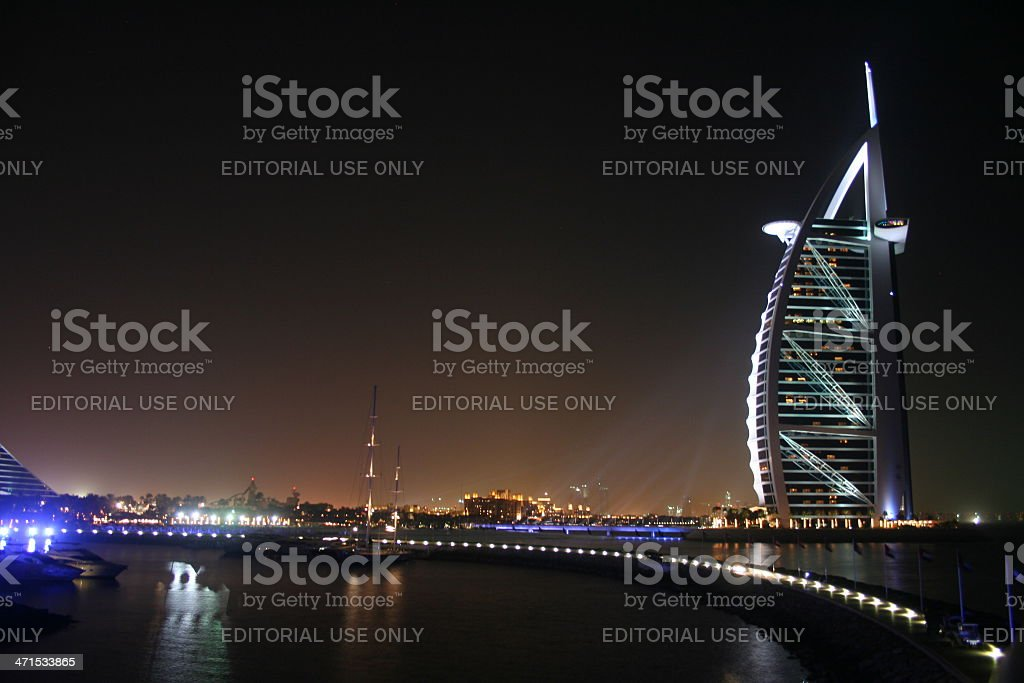 Dubai, Burj Al Arab Hotel during the night stock photo