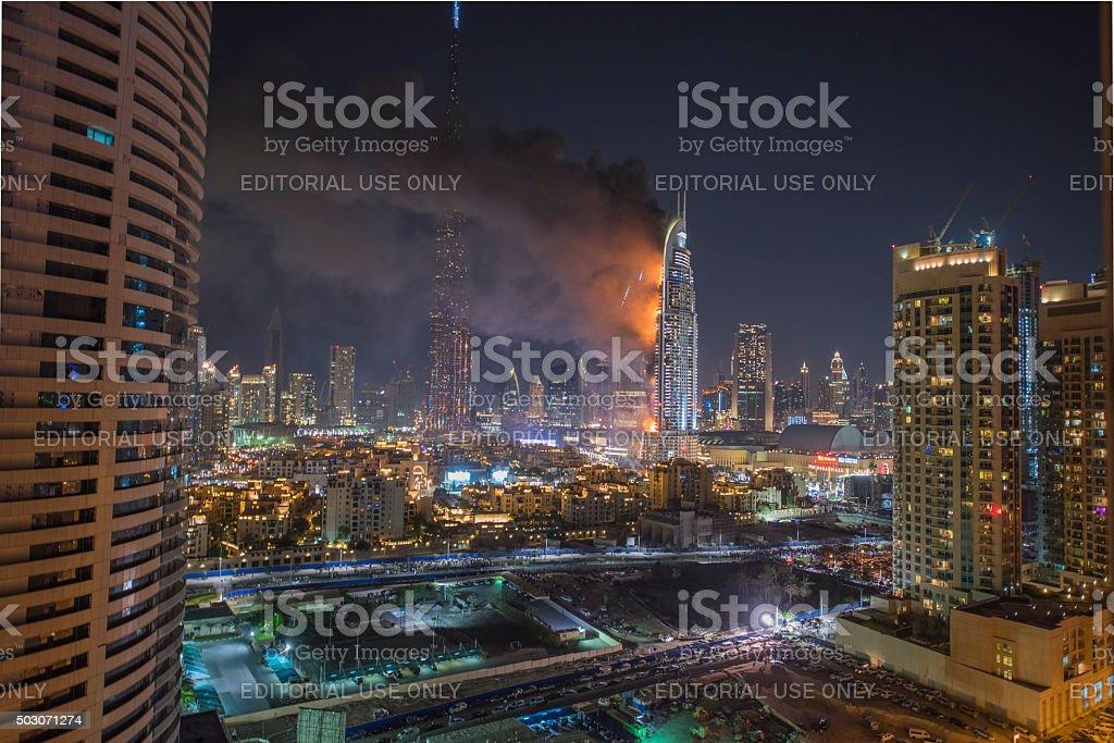 Dubai Burj Khalifa New Year fireworks 2016 royalty-free stock photo