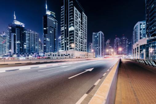 Dubai nightshot with skyline