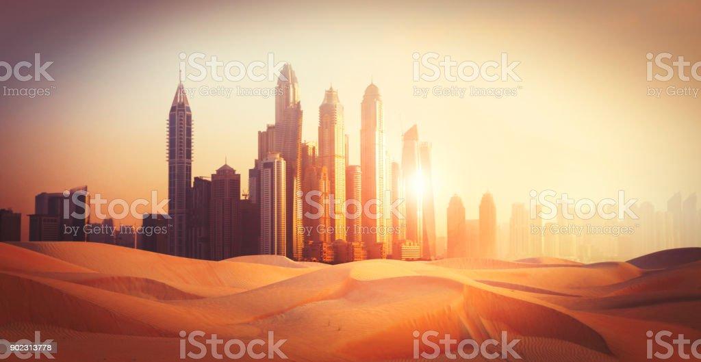 Dubai city in the desert stock photo