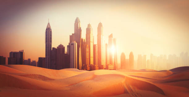 Dubai city in the desert stock photo