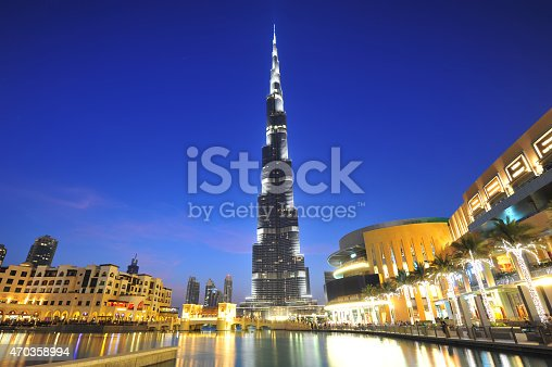 Dubai city night view, Dubai mall and Burj Khalifa