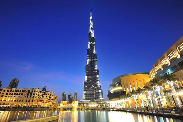 Dubai city night view Dubai city night view, Dubai mall and Burj Khalifa burj khalifa stock pictures, royalty-free photos & images