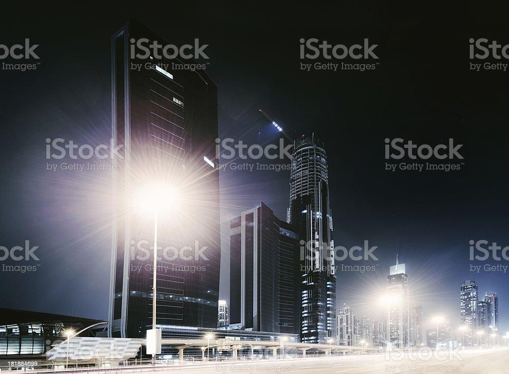 Dubai city nightshot with skyline royalty-free stock photo