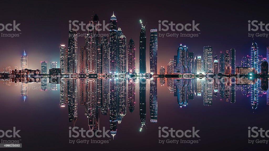 Dubai city reflection stock photo