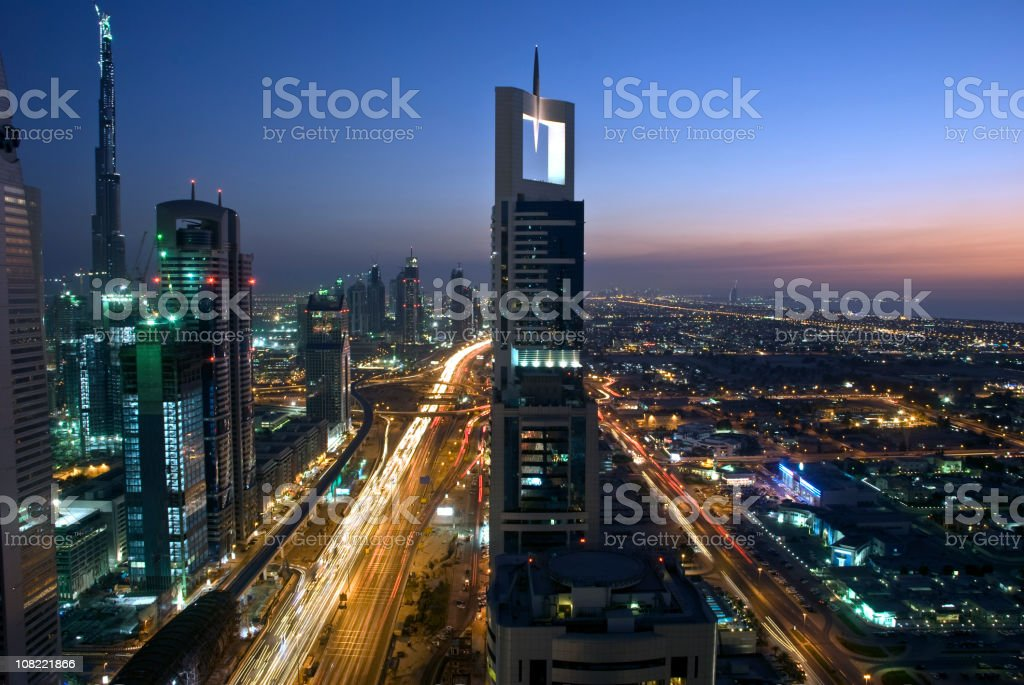 Dubai City Skyline at Night stock photo