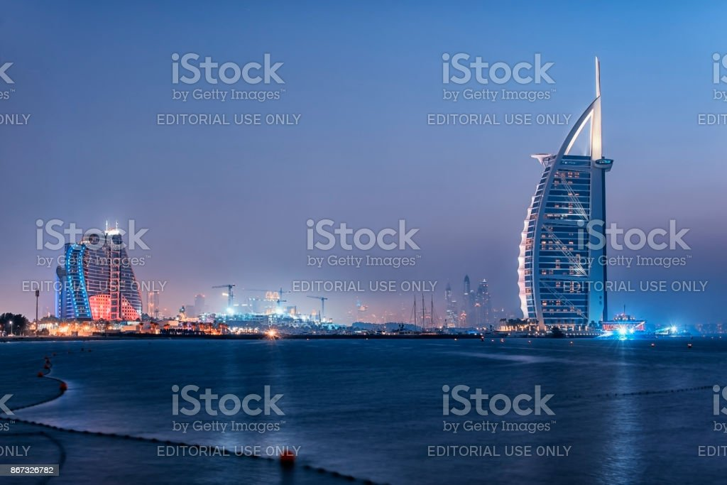 Dubai city viewed from the Palm Jumeirah stock photo