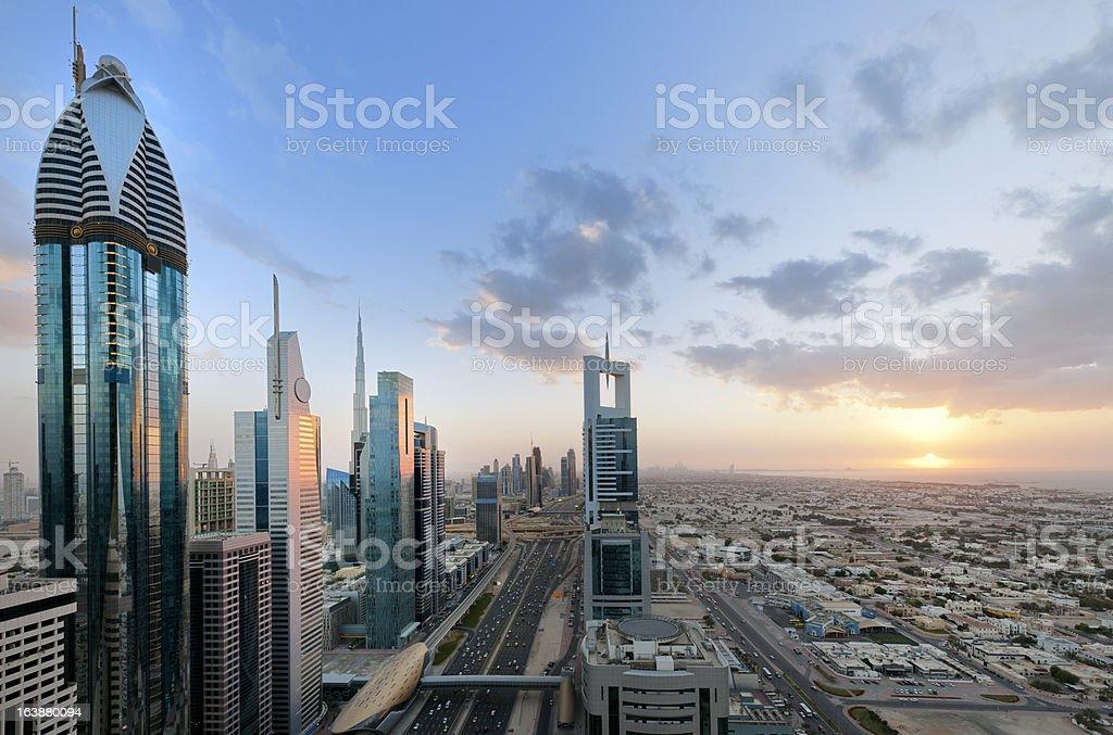 Dubai cityscape at sunset stock photo