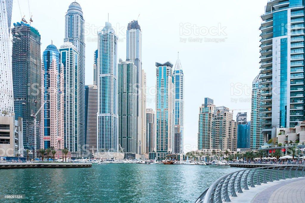 Dubai Cityscape, Marina Walk, Skycrapers, Yachts, Inlet, Apartments, Towers, Residences stock photo
