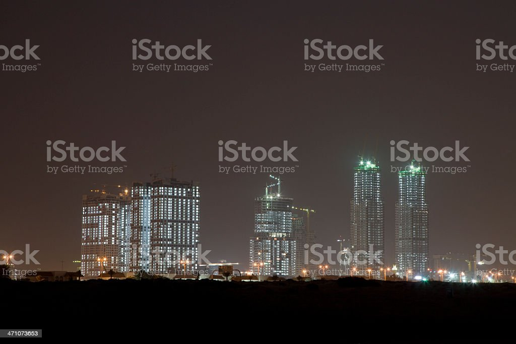 Dubai Construction Site at Night royalty-free stock photo