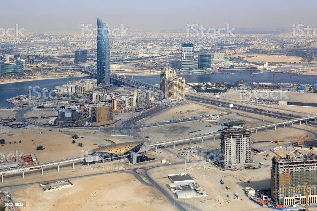 Dubai Creek D1 Tower aerial view photography stock photo