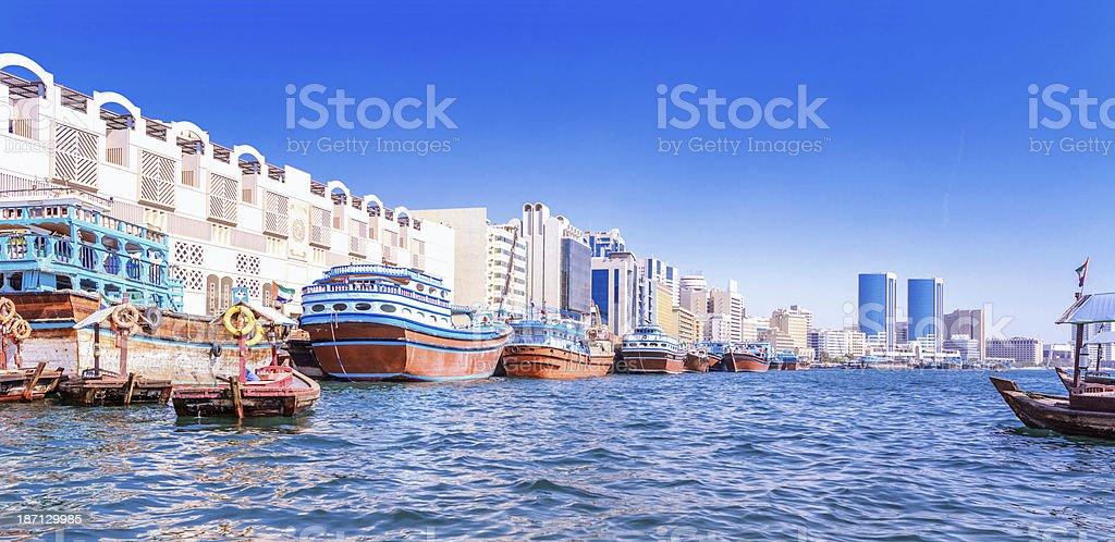 Dubai Creek Panorama stock photo