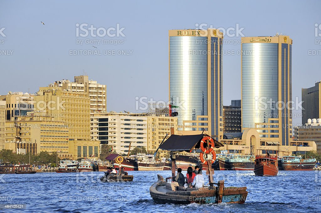 Dubai creek with abra's or water taxi's stock photo