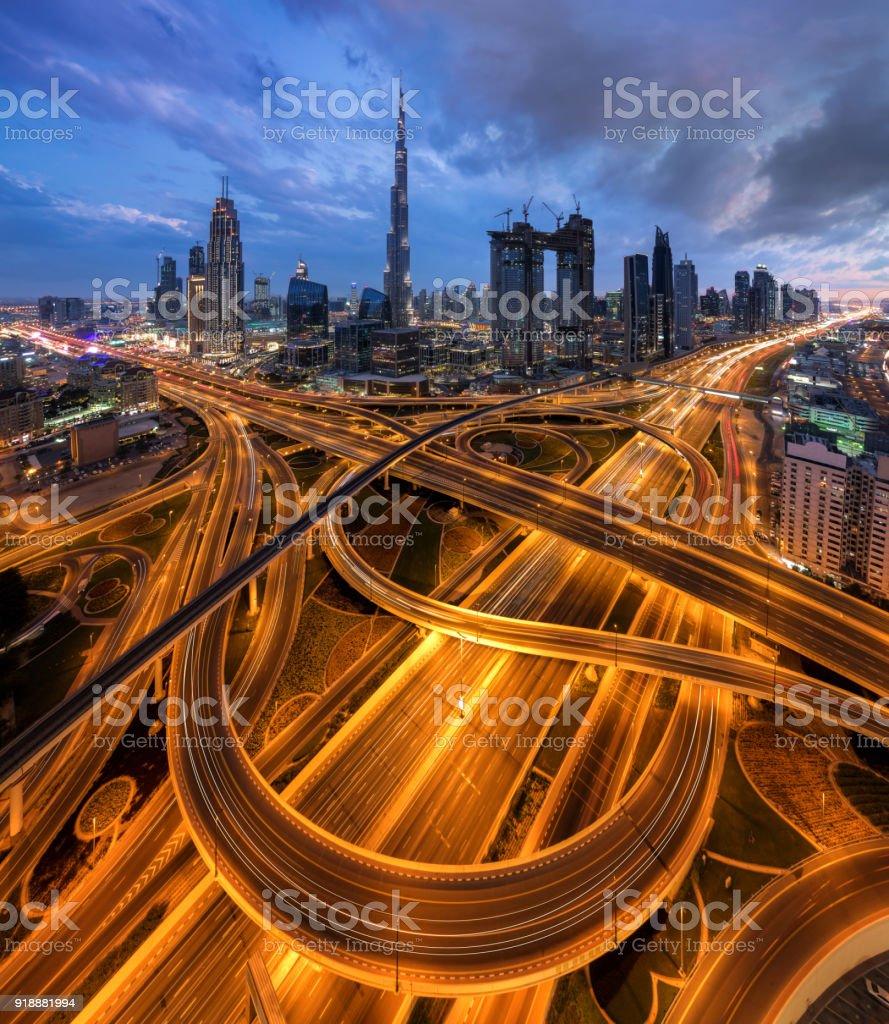 Dubai downtown at blue hour stock photo