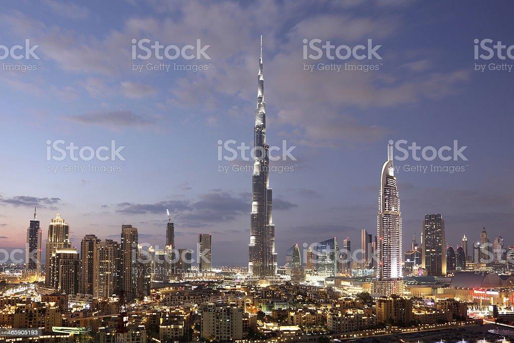 Dubai Downtown at dusk stock photo