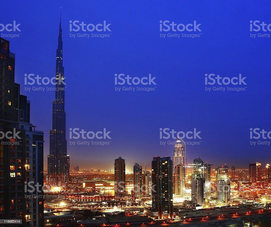 Dubai downtown at night royalty-free stock photo