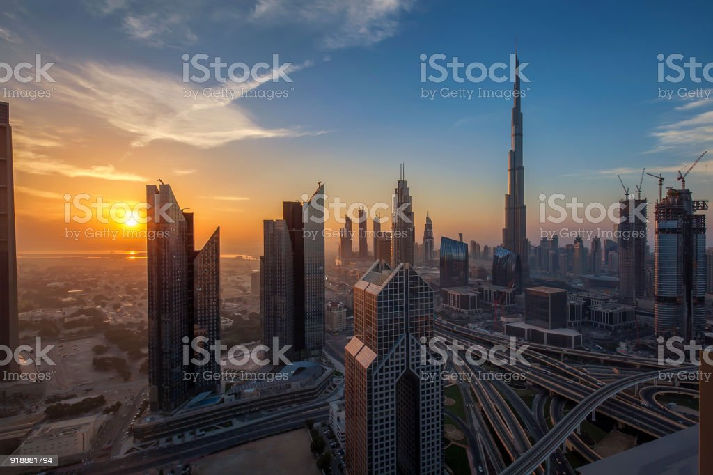 Dubai downtown at sunrise stock photo