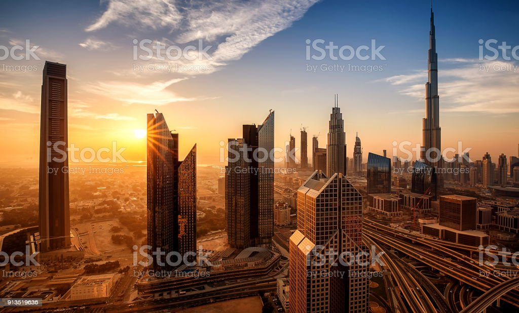 Dubai downtown at sunrise United arab emirates stock photo