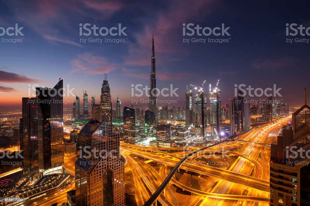 Dubai Downtown at the blue hour stock photo