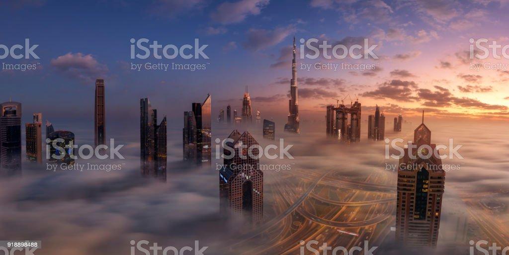 Dubai Downtown in beautiful fog stock photo