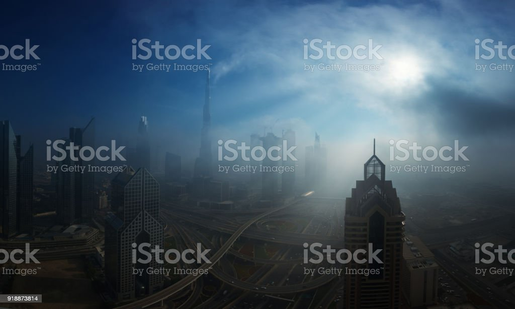 Dubai downtown in fog stock photo