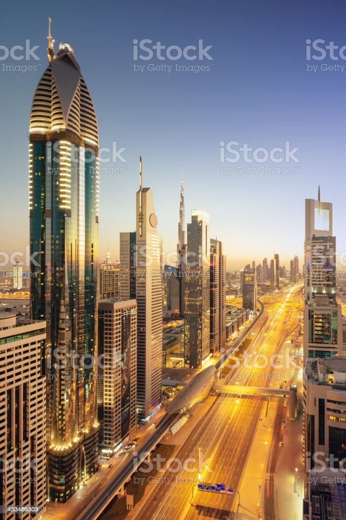 Dubai Downtown Modern Skyscrapers Twilight Scene royalty-free stock photo