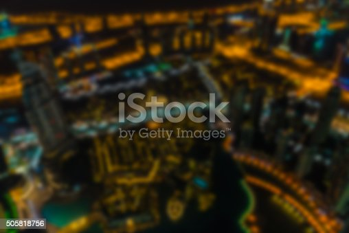 istock Dubai downtown night scene defocused 505818756