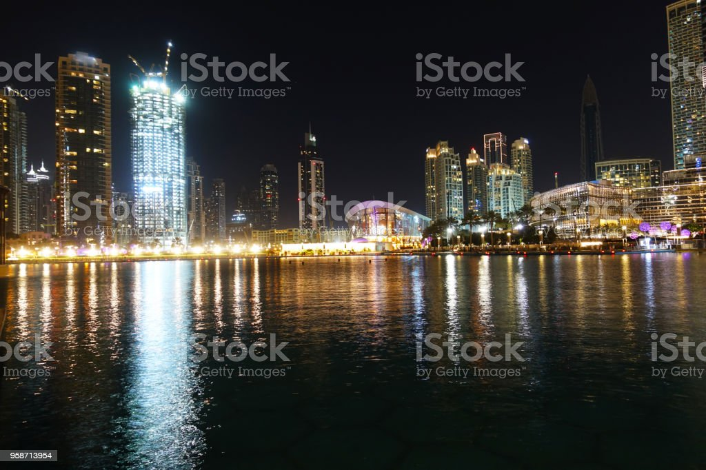 Dubai downtown night scene landscape, famous place to visit, UAE, 1st of May 2018 stock photo