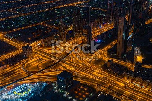 istock Dubai downtown night scene with city lights 529414074