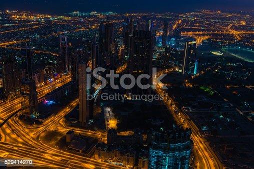 istock Dubai downtown night scene with city lights 529414270