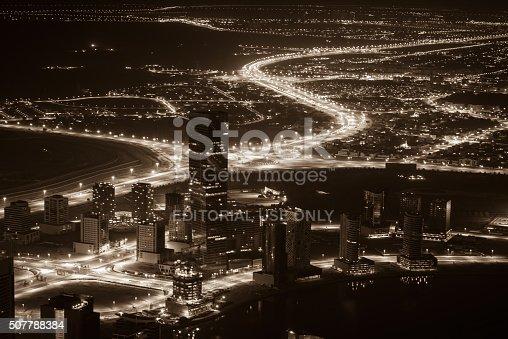 istock Dubai downtown night scene with city lights. Top view 507788384