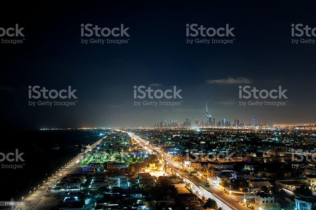 Dubai Downtown skyline at night stock photo