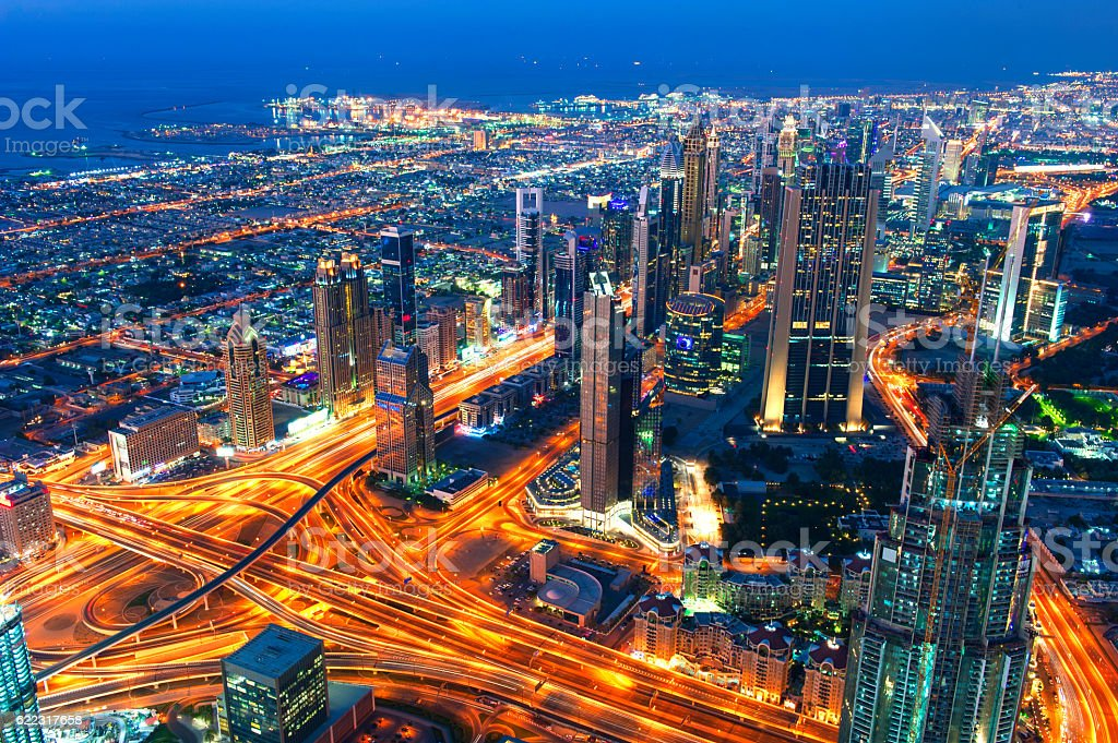 Dubai downtown skyline stock photo