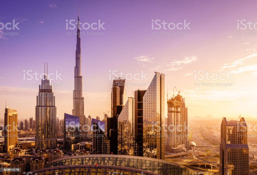 Dubai downtown skyline View of Dubai downtown skyline at sunset Aerial View Stock Photo