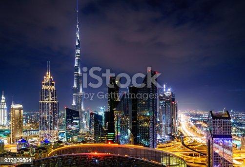 Nighttime high point view of Dubai downtown skyline
